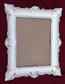 Bilderrahmen Weiß-Silber Barockrahmen 56x46 Antik Prunk Gemälde Rahmen Rokoko