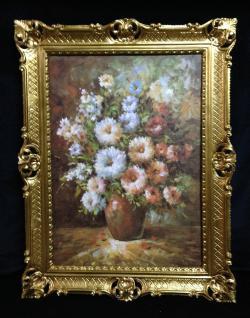 Gemälde Blumen Bild Kunstdruck 90x70 Blumenbund Vase Bild mit Rahmen 01-03