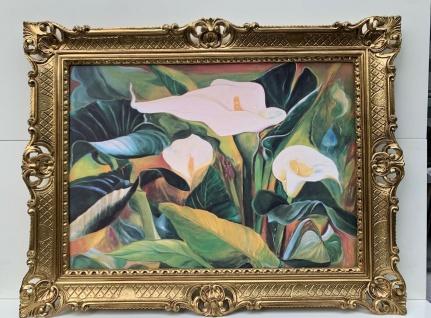 Gerahmte Gemälde Blumen Bilder 90x70 Calla Blumen Wandbild mit Rahmen stillleben