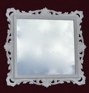 Wandspiegel Barock Weiß mit Glas 38x36 Barspiegel Weiß Hochglanz Antik - Vorschau 5