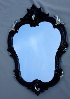 Wandspiegel Antik Oval Schwarz Silber Bad Spiegel Barock 50X35 Shabby c444 Neu