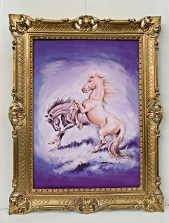 Gerahmte Pferde Bild Gemälde Bilderahmen Gold Bild mit Barock Rahmen 90x70cm