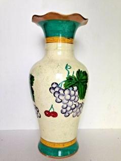 Bodenvase Ölpainting look mit Weintrauben Obst 46cm Deko Vase Keramik Handbemalt - Vorschau 2