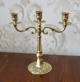 ANTIK Kerzenständer Messing Kerzenleuchter 3 flammig GOLD 24cm Massiv Kandelaber - Vorschau 3