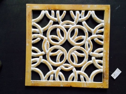 Wanddeko Holz Mango 41x41x2 Wandbehang Handarbeit Antik Ausstellungstück neu !