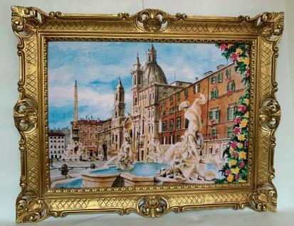 Gemälde Bild Der Brunnen Piazzza Navona Rom 50x70 Wandbild Gold 90x70 Italien