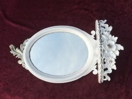 Wandspiegel Weiss Silber Barock mit Wandkonsole Antik Spiegel 48x25 Oval cp91 - Vorschau 5