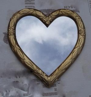 Wandspiegel Spiegel Herz form Gold 39x38 Kinderzimmer Bad Spiegel 3072
