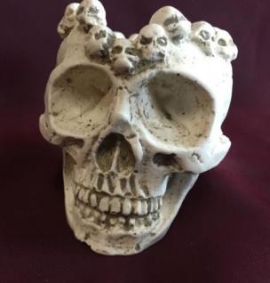 Totenkopf schädel Aschenbecher Natur 10x7 Skull Gothic Fantasy Figur Deko Skull - Vorschau 4