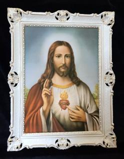 Jesus Christus Gemälde Christliche Heiligen Jesus Bild mit Rahmen Weiß-Gold H1