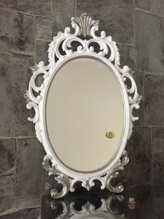 Wandspiegel Weiß/Silber Oval Barock 43cm Schminkspiegel Prunkspiegel Antik