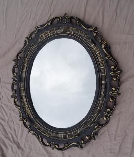 Bilderrahmen Oval Schwarz Gold Barock mit Schutzglas 58x68 Transparent Glas