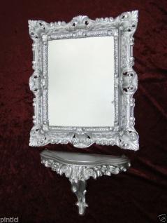 Wandspiegel Silber Barock mit Konsole 45x37 Wandkonsole Spiegel mit Ablage