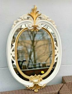 Wandspiegel Oval Beige-Gold Barock Badspiegel Antik Ovaler Prunk Spiegel 60X39