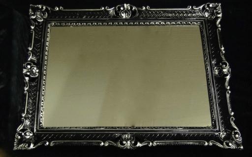 Wandspiegel Barock xxl Spiegel Schwarz-Silber Spiegel Groß 90x70 Hochglanz