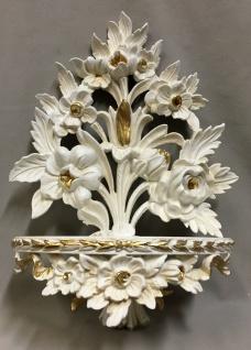 Wandkonsole Barock weiß Gold /Spiegelkonsolen/Wandregal /Deko H35 Blumen cp82