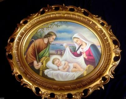 Joseph Maria Jesus in der Wiege Bild Rahmen 68X58 GOLD BAROCK SACRA FAMILIE