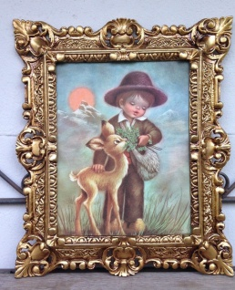 Gemälde Junge mit Reh Bilder 45x38 cm Kunstdruck Bild Kind Wandbild mit Rahmen