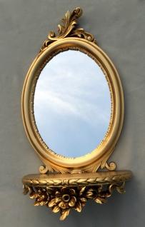Wandspiegel Barock mit Konsole Ablage Gold Spiegel Antik 48x25x13 Oval cp91