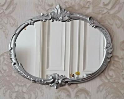 Wandspiegel Barock Oval Silber 52x42 Badspiegel Vintage ovaler Spiegel Antik