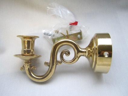 Wandkerzenhalter gold 18x9cm Wandleuchter, Wandhalter, Messing Hochpoliert, - Vorschau 2