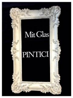 XXL Bilderrahmen Weiß-Silber mit Glas Groß 97x57 Antik Hochzeitsrahmen Barock
