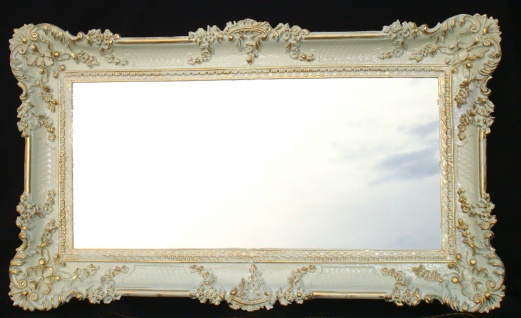 Wandspiegel Barock Antik Weiß-Gold Spiegel WANDDEKO 97x57