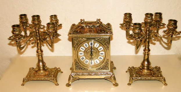 2 Kerzenständer 5 armig & Kaminuhr Messing Antik Uhr DEKO GOLD kaminset 82108B