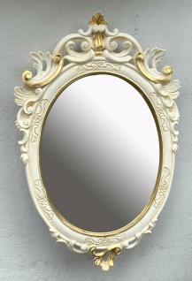 Barock Wandspiegel Weiß Gold Oval Spiegel Antik Rokoko Badspiegel 49x32 Prunk