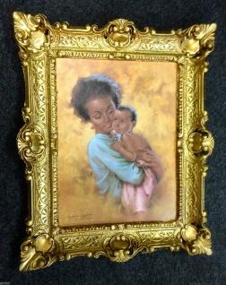Bild mit Rahmen GOLD Mutter Kind 56x46 Gemälde Antik Rahmen 30x40