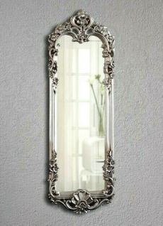 Wandspiegel Barock 161x55 Antik Silber Körperspiegel Rokoko Prunk großer Spiegel