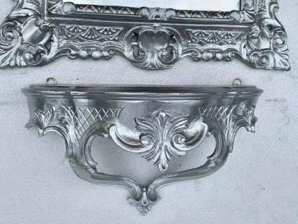 Wandkonsole Silber hochglanz Barock Wandregal 30x16 Spiegelkonsole Antik Ablage