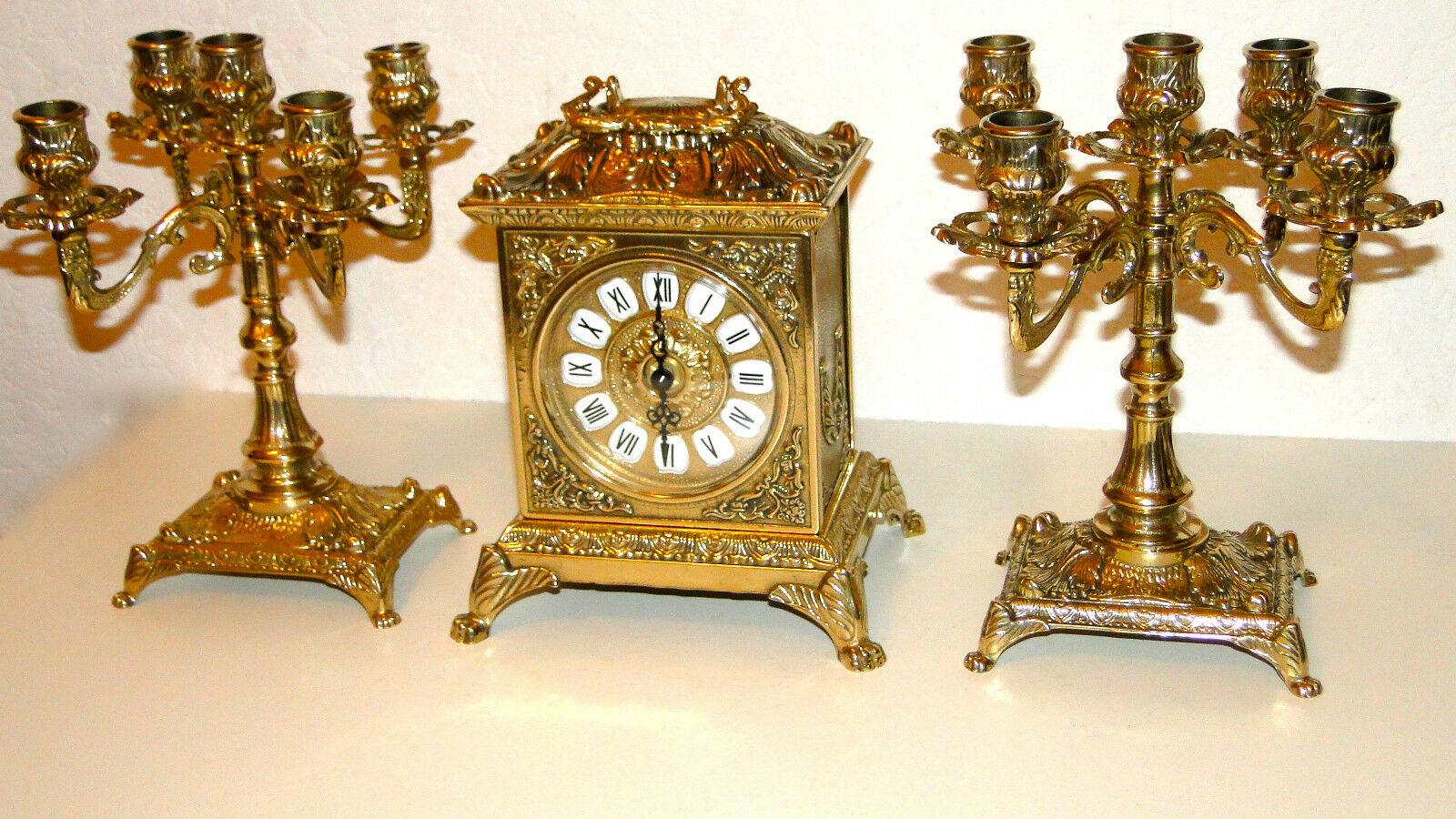 2 Kerzenständer 5 armig & Kaminuhr Messing Antik Uhr DEKO GOLD kaminset 82108B - Vorschau 2
