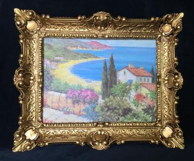Landschaftsbild Haus am See Blick Wandbild mit Rahmen 57x47 Kunstdruck Baum