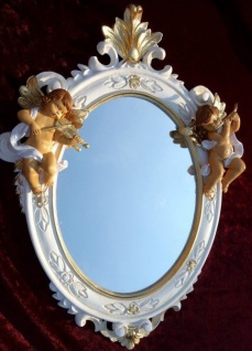 Wandspiegel Oval Engel spiegel Barock Weiß Gold Antik rokoko 38X28 C446SBA NEU