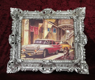 Auto Cuba Rot Bild Rahmen Silber Wandbild 45x38 Oldtimer Classic Cuban Auto