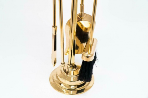 Kaminbesteck Kamingarnitur 73cm Messing Massiv Gold Kaminset Ofenbesteck Set - Vorschau 4