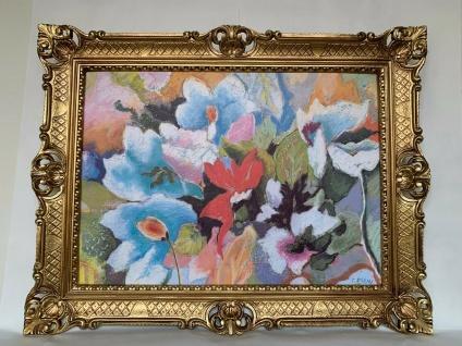 Kunstdruck Bild Blumen Bilder 50x70 Wandbild 90x70 Bild mit Rahmen Gold