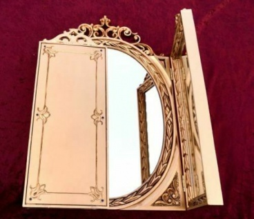 Wandspiegel Antik Oval Rechteckig Gold Badspiegel BAROCK 60X46 Spiegel c508