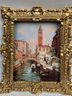 Gerahmte Barock Bild Lagune Venedig Boote Brücke Wandbild 45x37 Gemälde Italien