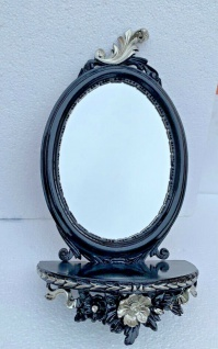 Wandspiegel Oval mit Konsole Schwarz Silber Barock Antik 48x25 Badspiegel