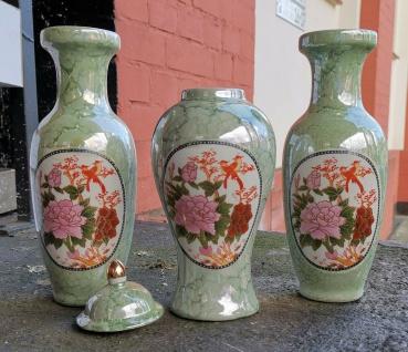 Dekorative Vase Blumenvase mamoriert Blumenmuster mit Vogel
