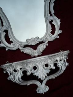 Wandspiegel mit Wandkonsole Weiß-Silber Barock Badspiegel mit Ablage Antik 76cm