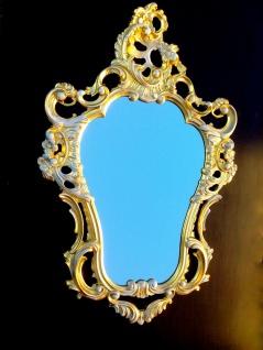 WANDSPIEGEL Shabby Gold weiß 76x50 Barock Spiegel Wandspiegel Oval Repro 3039G-w