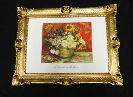 Wandbilder Gemälde BLUMEN VAN GOGH Antik RAHMEN Gold Reblikat Bild 90x70-ca70x50