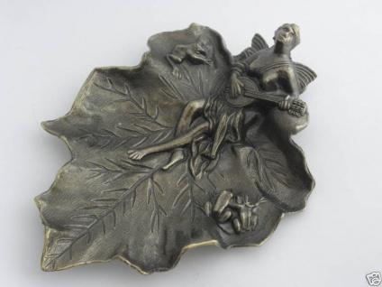 Wunderschöne deko Schale Aschenbecher Messing-Look Visitenkartenetui antik 23cm