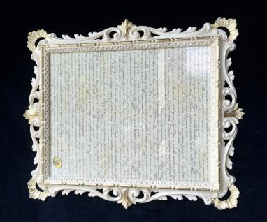 Bilderrahmen Antik Weiß-Gold Ornamente Barockrahmen 43x37 Fotorahmen Creme C532