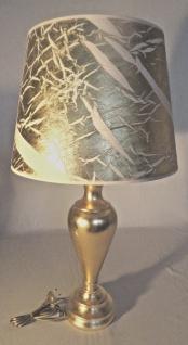 Tischleuchte , Nachttischlampe , Tischlampe 73 cm Gold - Weiß Muster - Vorschau 1