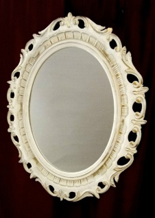Wandspiegel antik barock Weiß-GOLD OVAL ANTIK BadSpiegel Spiegel 58X68 Neu