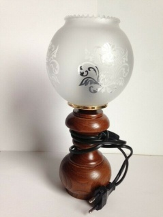 Tischlampe Antik Nachtischlampe Lampe HOLZ Tischleuchte Design H25 Leselampe 111